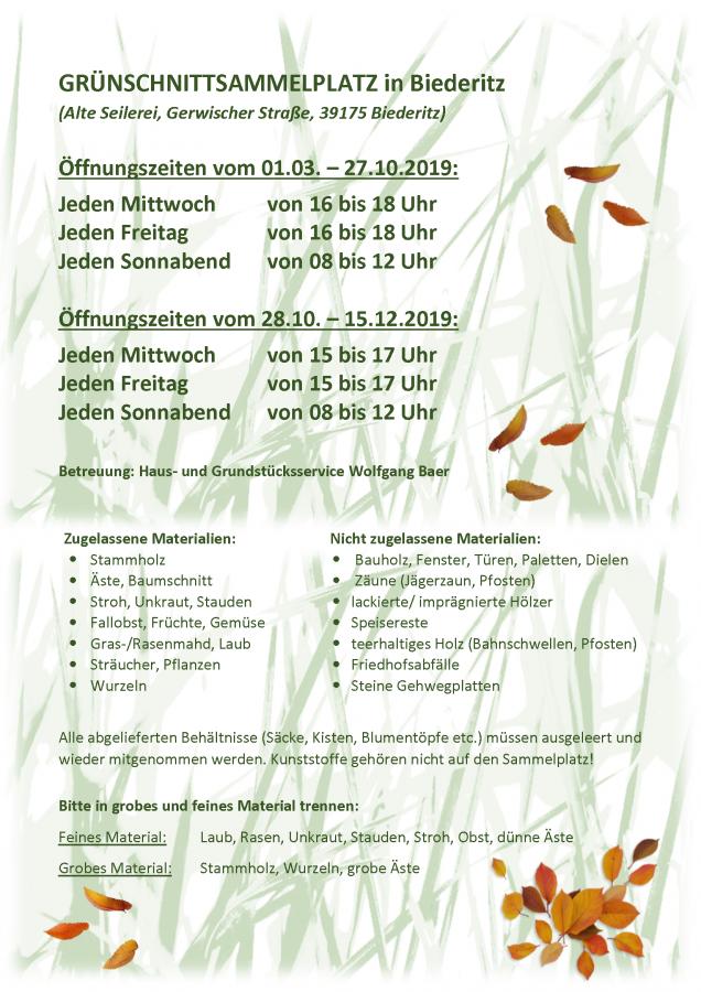 GRÜNSCHNITTSAMMELPLATZ in Biederitz Stand 2019