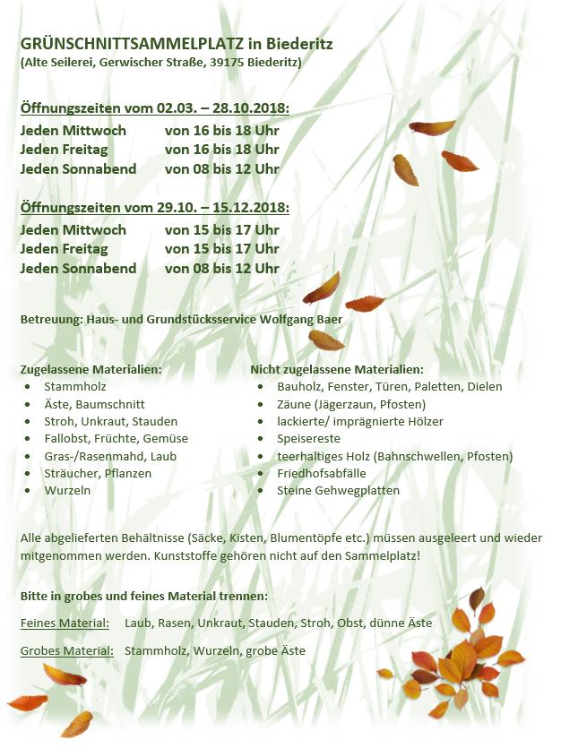 GRÜNSCHNITTSAMMELPLATZ in Biederitz Stand 2018