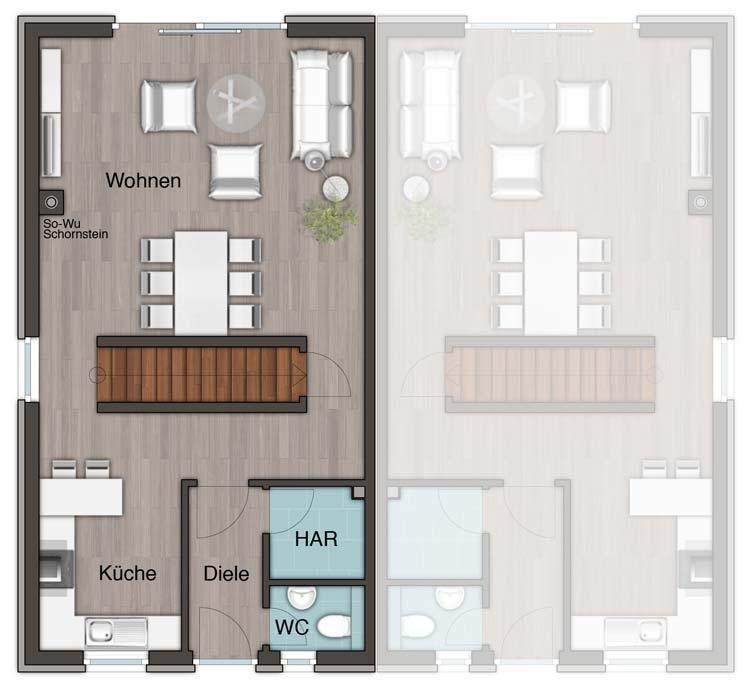 Weisz immobilien mobil for Grundriss reihenhaus modern
