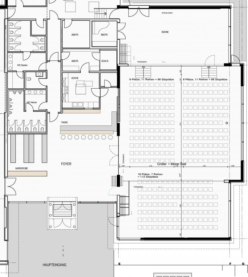 Bestuhlung 309 Plätze (kleiner + großer Saal)