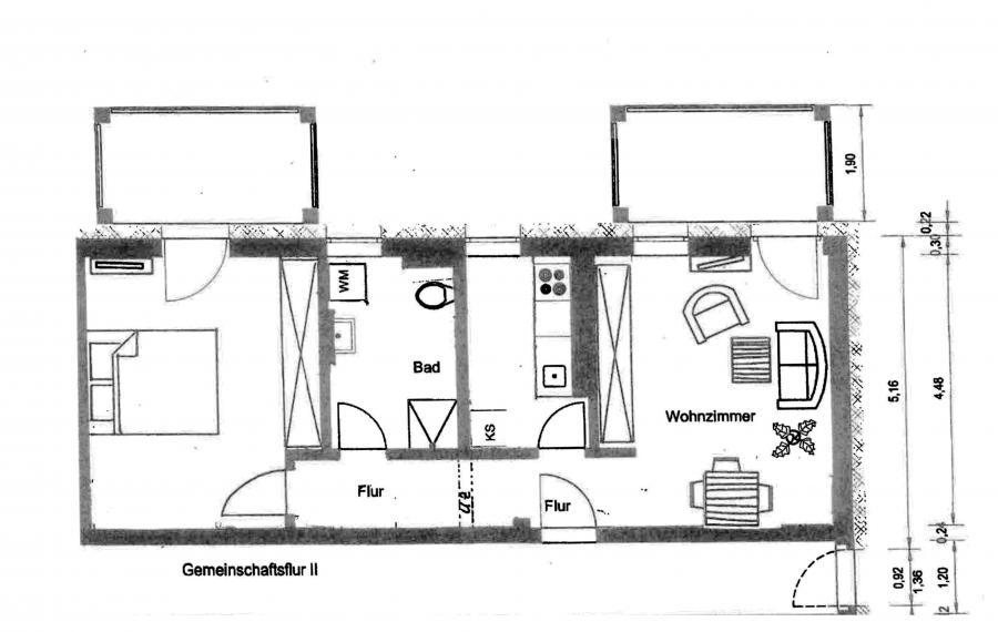 Grundriß 2 Raumwohnung