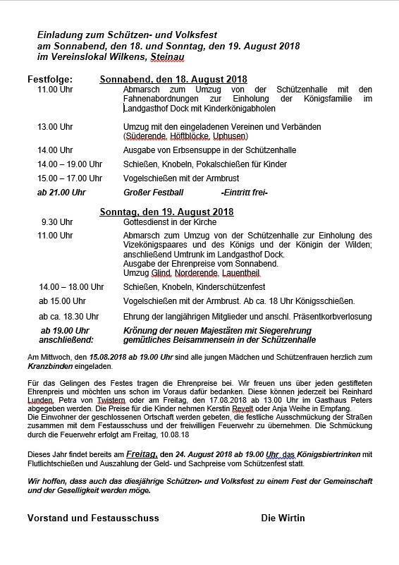 Gut-Ziel Einladung Schützenfest 2018