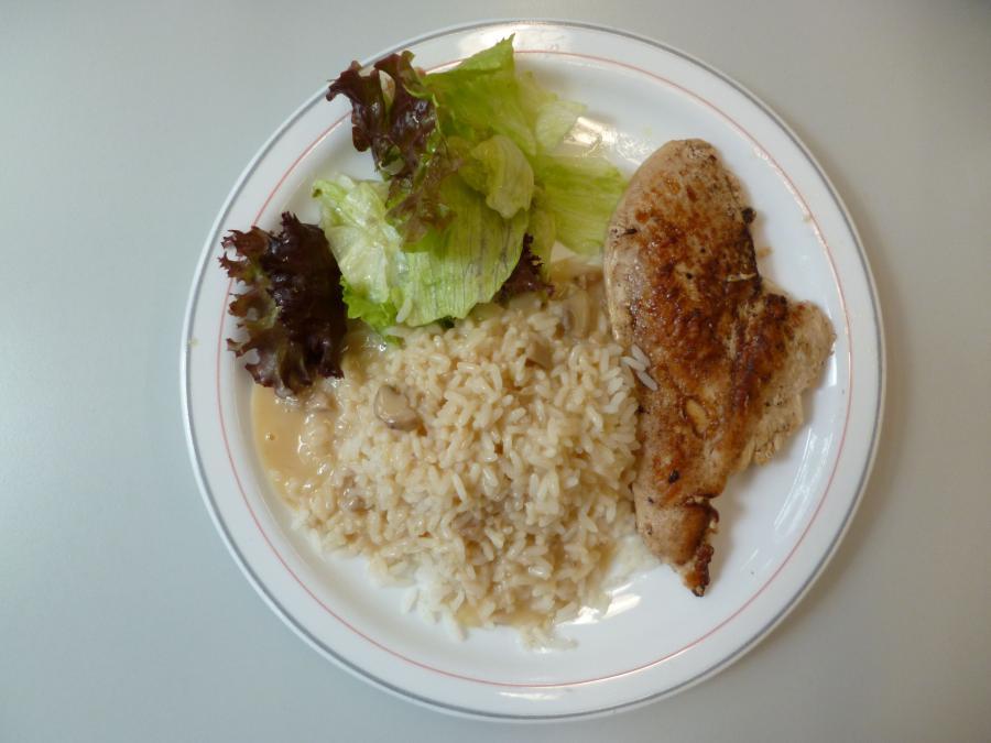 Hähnchenfilet mit Reis und Pilzsoße
