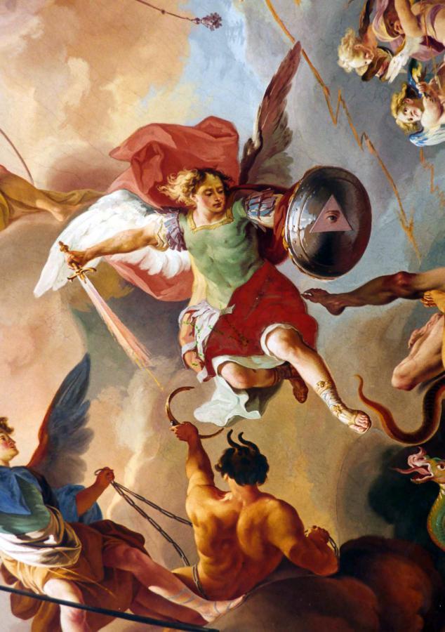 Hafner Engel Michael und die fallenden Engel. Fresko von Franz Anton Zeiller 1756, Chorkuppel der Klosterkirche
