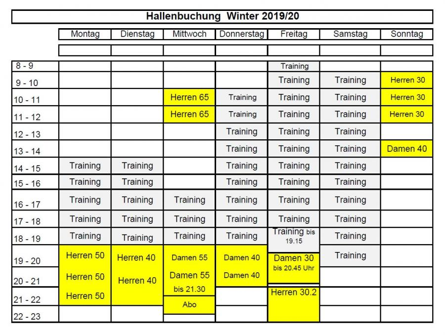 Hallenbelegung  Winter 2019 / 20