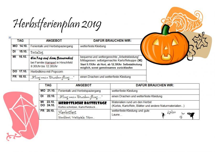 Herbstferienplan 2019