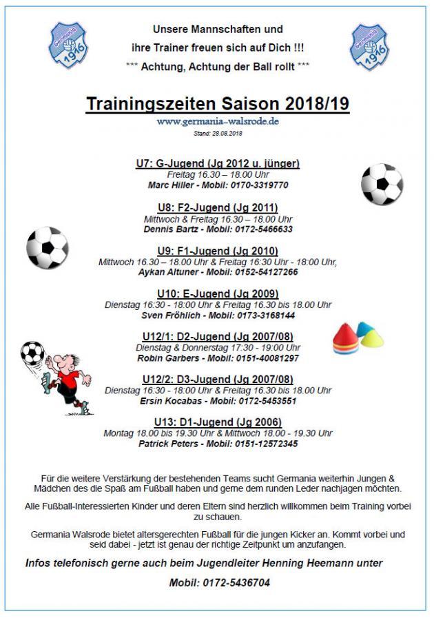 Jugend Trainingszeiten 2018-19