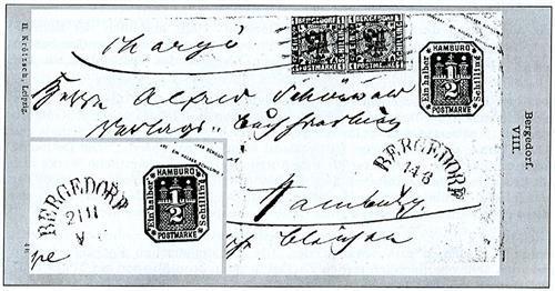 Lichtdrucktafel VIII aus dem Handbuch der Postfreimarkenkunde für Bergedorf