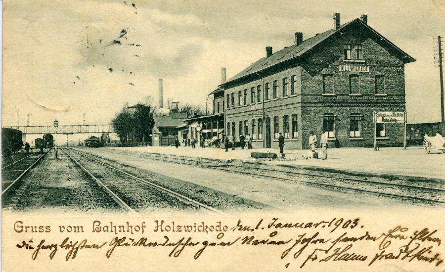 Postkarte vom Bahnhof Holzwickede aus dem Jahre 1903 (aus der Sammlung von Dr. E.M.Eden)