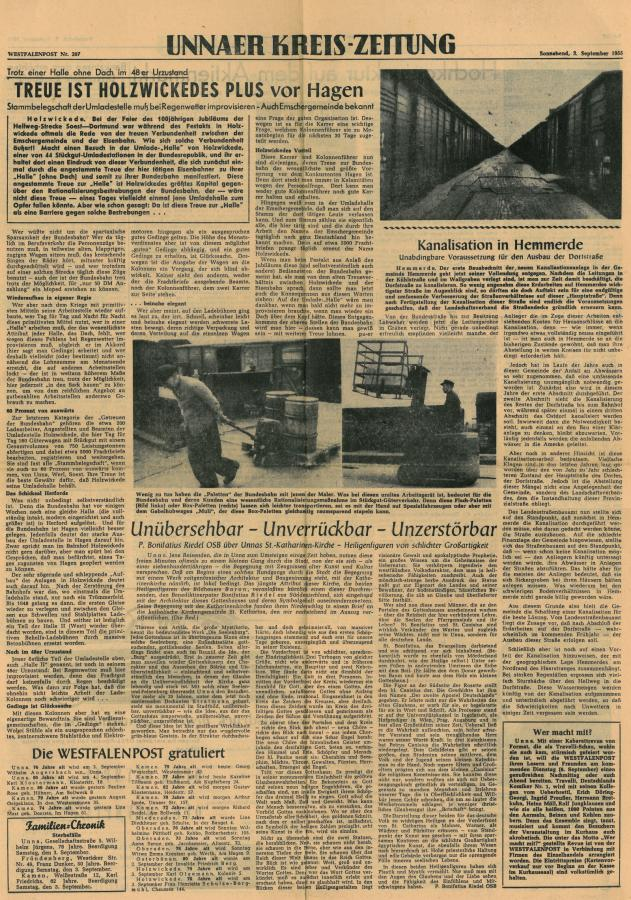 Bericht der Westfalenpost September 1955