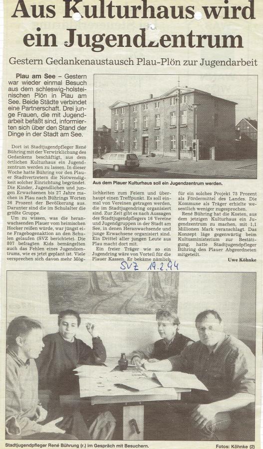 Idee Jugendzentrum nach Umfrage an Schulen, SVZ, 19.2.1994