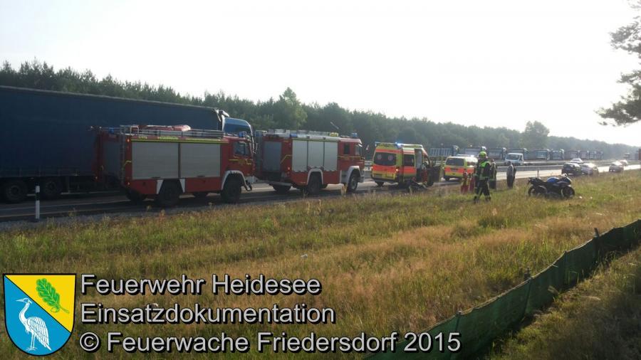 Einsatz 117 VU PKW - Krad BAB 12 > Frankfurt/Oder 18.07.2015