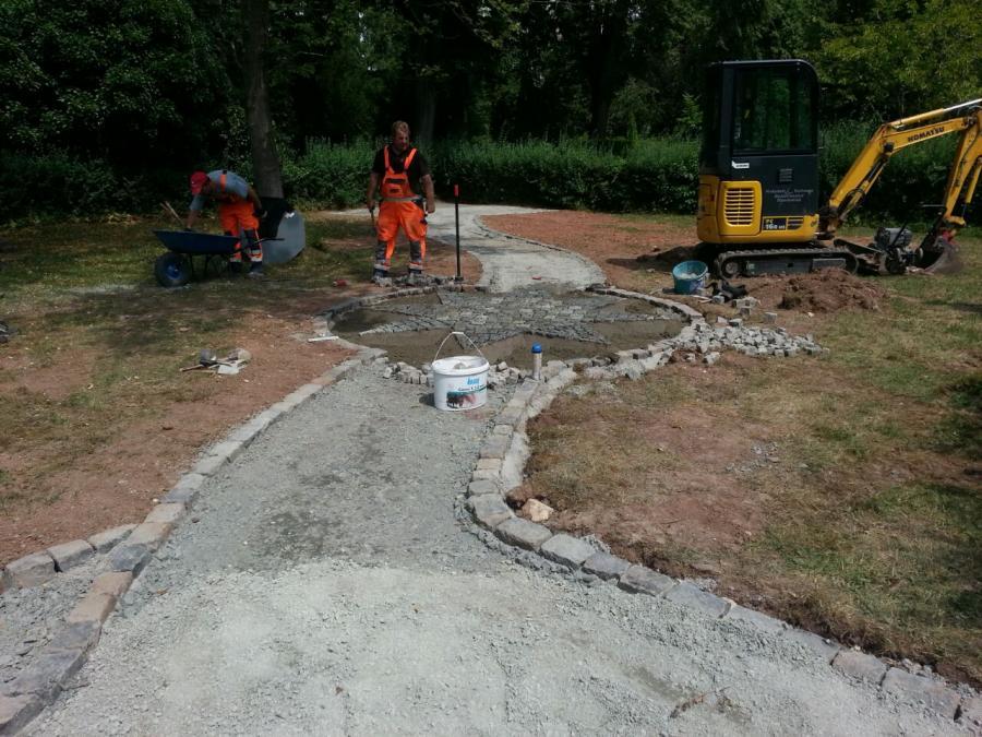 Herstellung des Untergrunds für Pflasterarbeiten