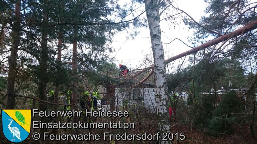 Einsatz 164/2015 Baum auf Bungalow Bindow Birkenhain 18.11.2015