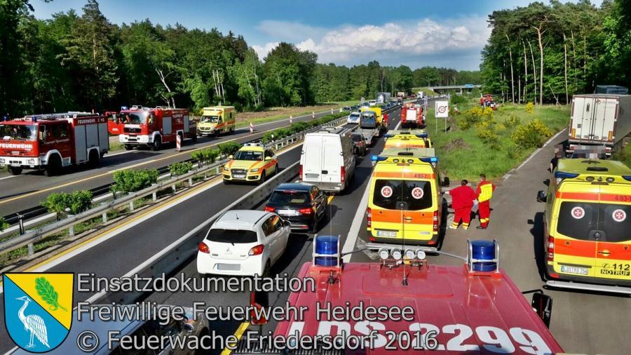 Einsatz 28/2016 | VU 3x PKW | BAB 12 AS Friedersdorf - AS Storkow km 7,0 13.05.2016