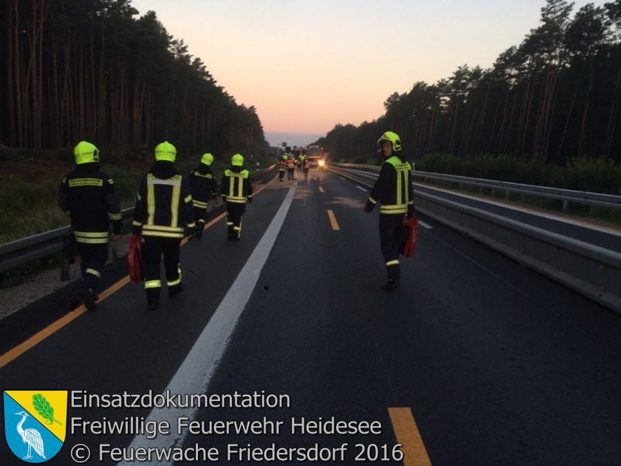Einsatz 73/2016 | VU PKW - LKW | BAB 12 AS Storkow | 16.07.2016