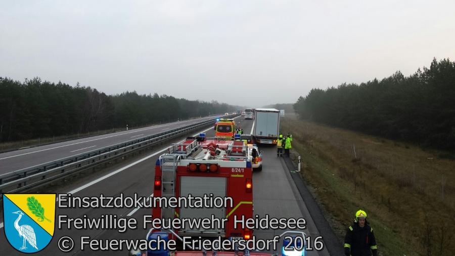 Einsatz 124/2016 | VU PKW auf LKW | BAB 12 AS Friedersdorf - AS Storkow | 23.12.2016