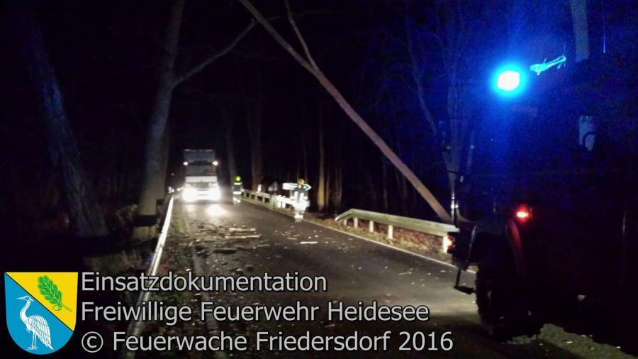 Einsatz 125/2016 | Baum auf Straße | L39 OV Friedersdorf - Blossinl | 27.12.2016