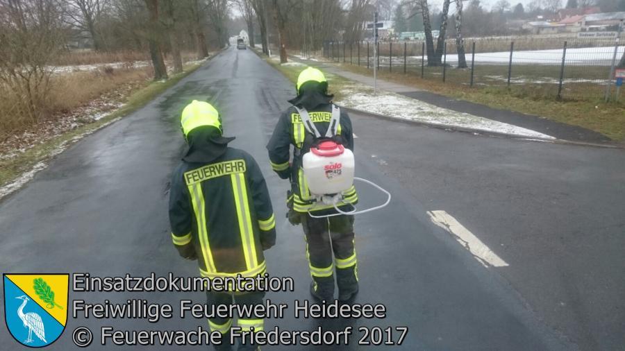 Einsatz 1/2017 | 4000 m Ölspur | Bindow Bindower Dorfstraße | 02.01.2017