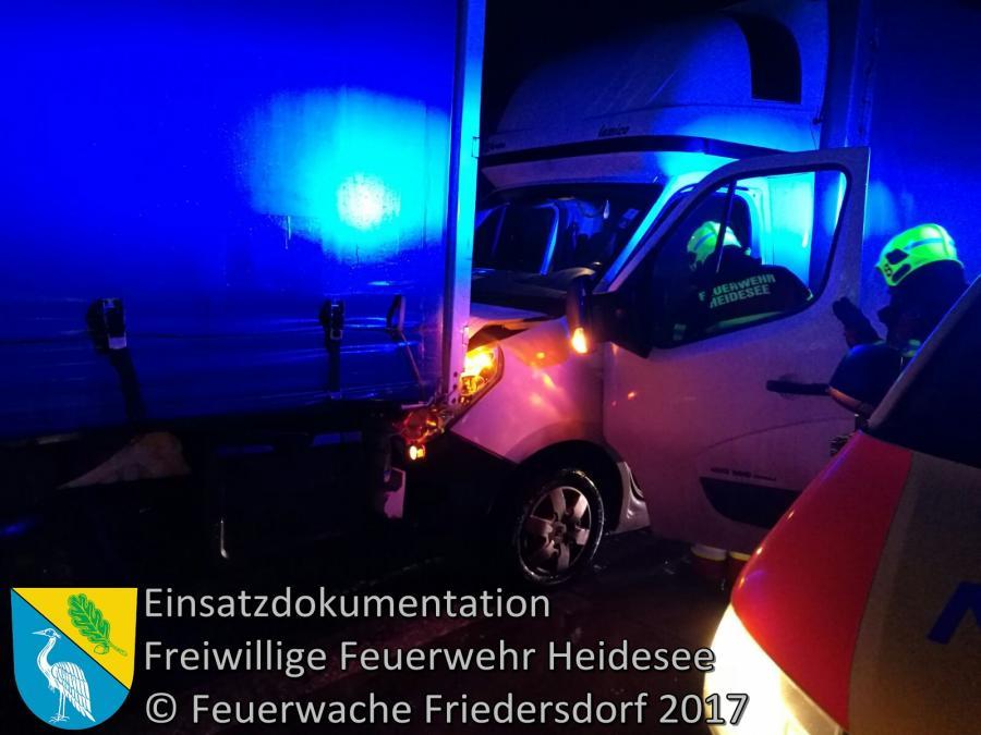 Einsatz 4/2017 | Transporter gegen LKW | BAB 10 AD Spreeau - AS Niederlehme | 11.01.2017