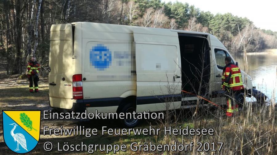 Einsatz 22/2017 | Transporter im Wasser | Gräbendorf Frauensee 26.03.2017