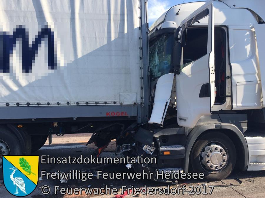 Einsatz 40/2017 | VU 3x LKW 1x PKW | BAB 12 AS Storkow - AS Friedersdorf | 22.05.2017