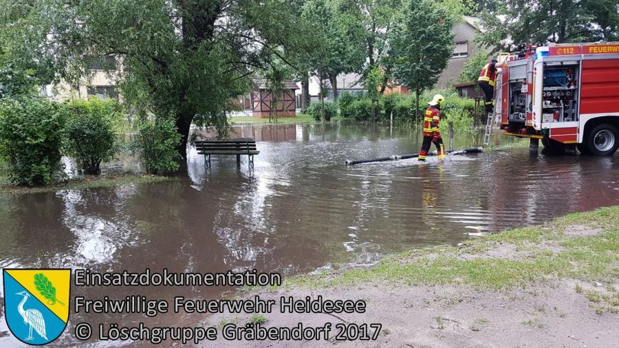 Einsatz 77/2017 | Straße unter Wasser | Gräbendorf Dorfanger | 29.06.2017