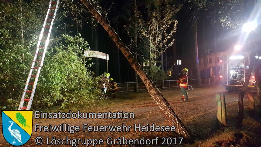 Einsatz 231/2017 | Baum auf Trafohaus | Gräbendorf Weg zum Frauensee | 05.10.2017