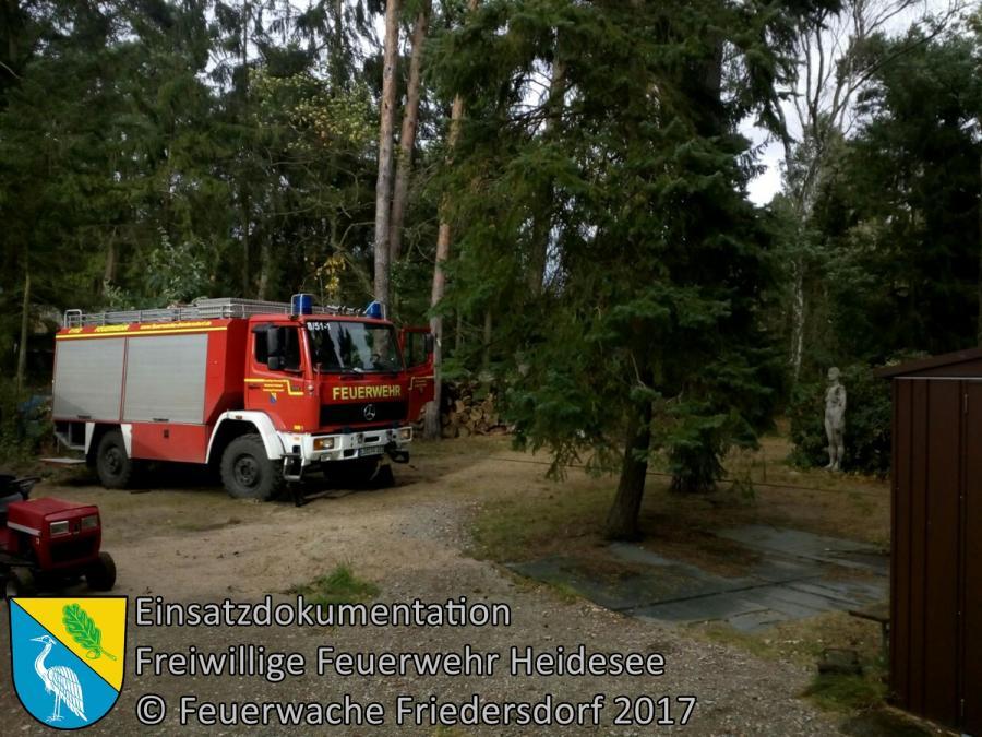 Einsatz 287/2017 | Baum droht auf Wohnwagen zu stürzen | Prieros Alte Försterei | 06.10.2017