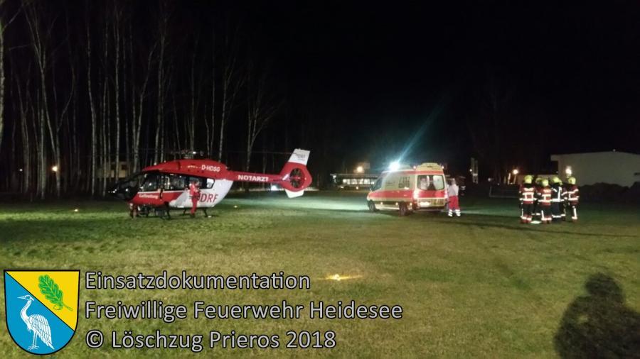Einsatz 4/2017 | Ausleuchten Hubschrauberlandung | Prieros Storkower Allee | 05.01.2018