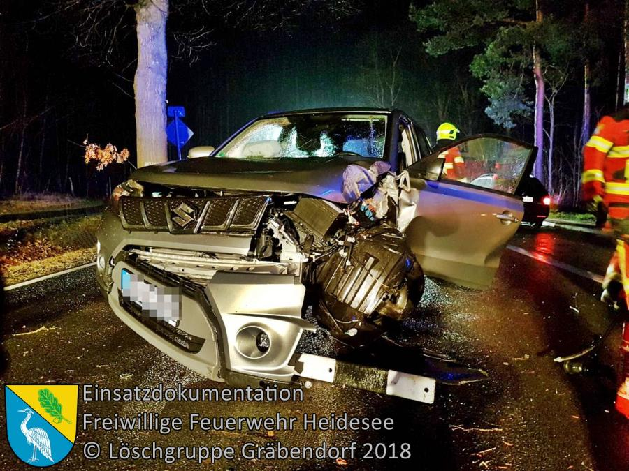 Einsatz 20/2018 | PKW gegen Baum | B246 OV Prieros - Gräbendorf | 13.03.2018
