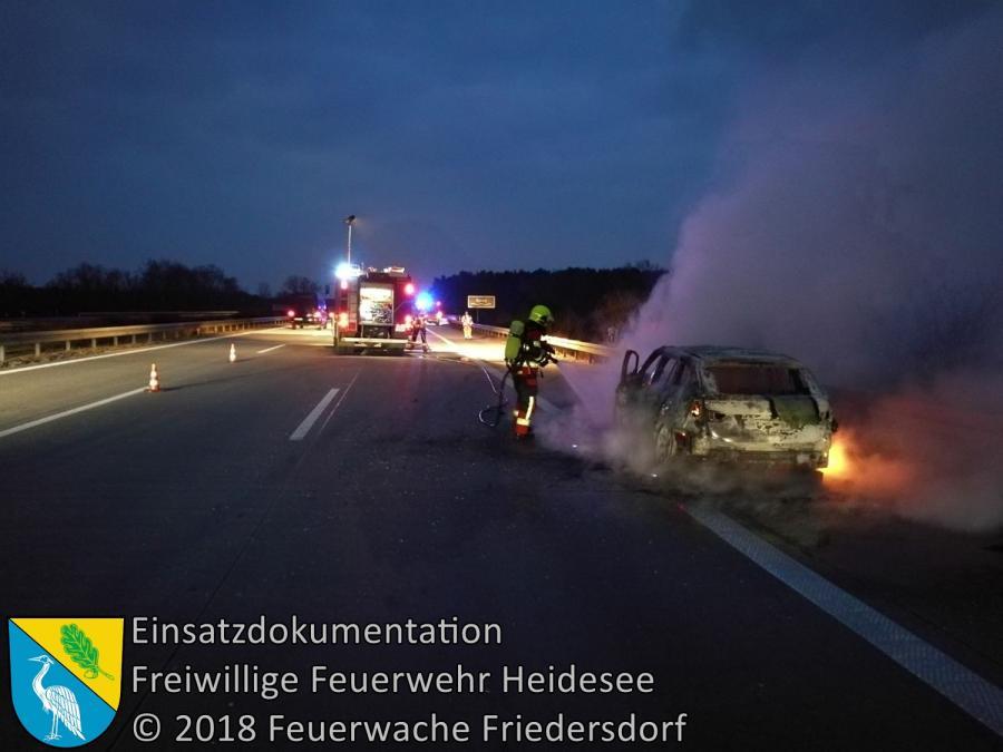 Einsatz 21/2018 | PKW in Vollbrand | BAB 10 AD Spreeau - AS Freienbrink | 25.03.2018