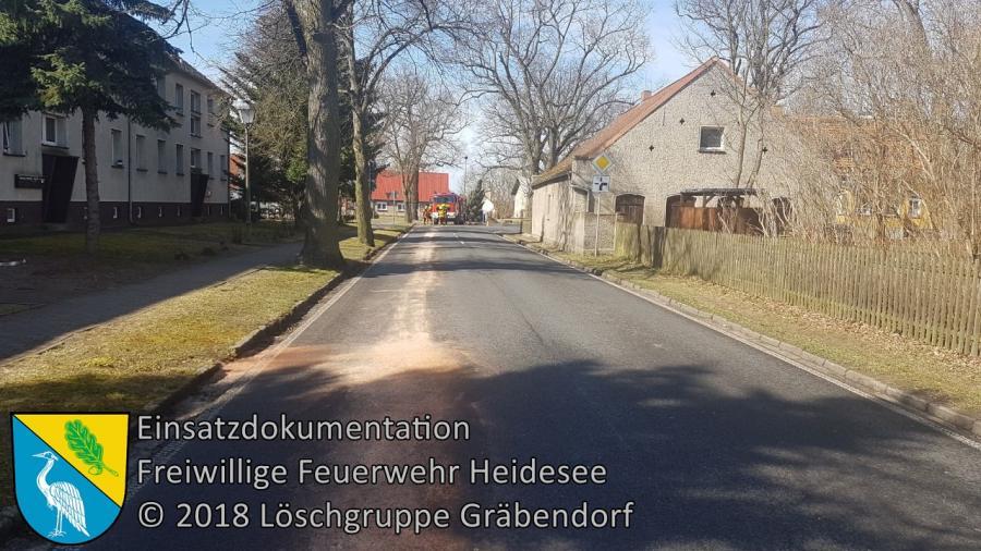 Einsatz 25/2018 | 100m lange Ölspur | B246 Gräbendorf Karl-Woitschach-Straße | 03.04.2018