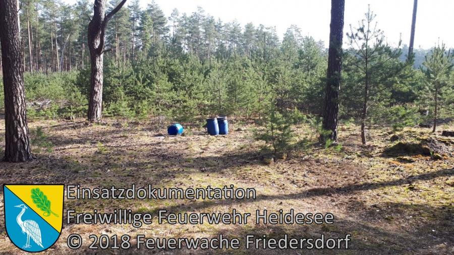 Einsatz 32/2018 | 3 unbekannte Fässer im Wald | Gräbendorf Am Dolgenhorst | 10.04.2018