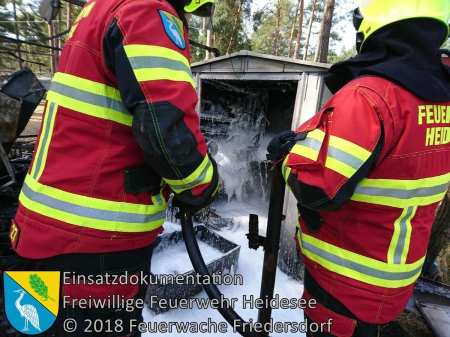 Einsatz 33/2018 | Nachlöscharbeiten Campingplatz | Gräbendorf Weg zum Hölzernen See | 10.04.2018