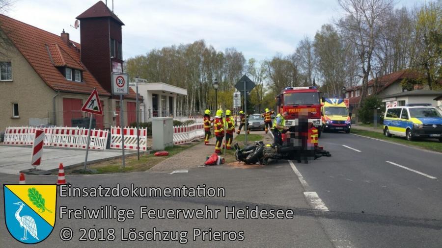 Einsatz 34/2018 | VU PKW - Motorrad | Prieros Storkower Allee | 15.04.2018
