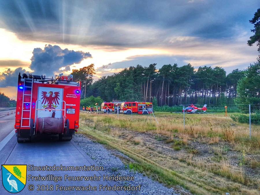 Einsatz 100/2018 | PKW in Leitplanke | BAB 12 AS Storkow - AS Friedersdorf | 27.07.2018