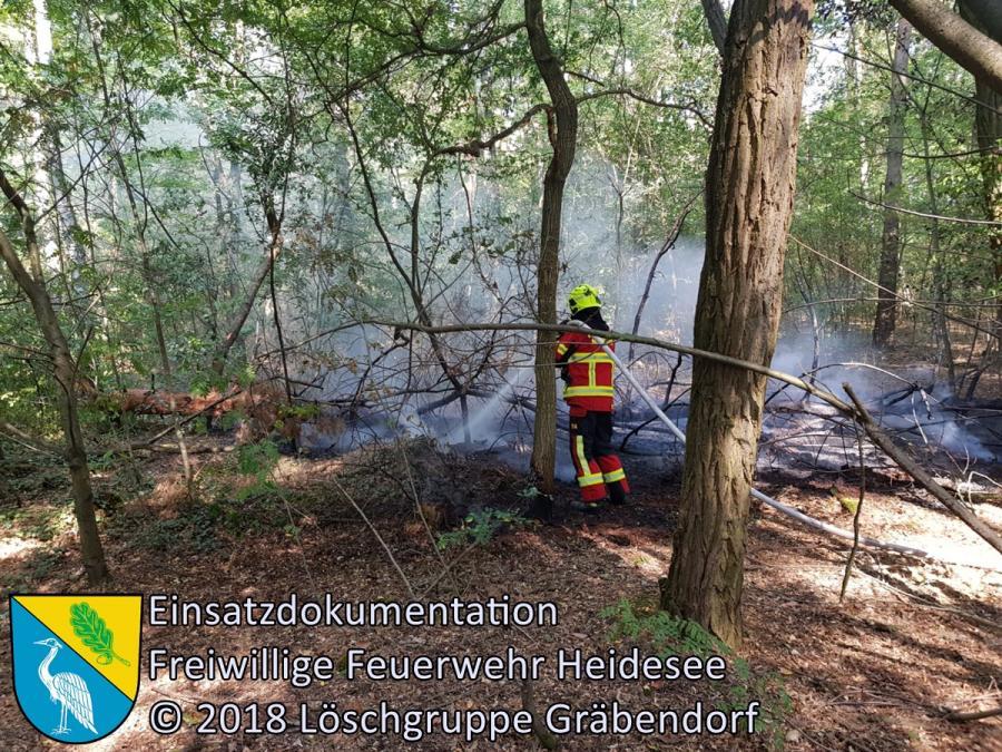 Einsatz 122/2018 | 25m² Waldbodenbrand | Gussow Bindower Straße | 29.08.2018