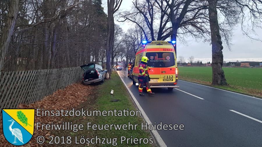 Einsatz 159/2018 | PKW gegen Baum | B 246 OV Klein Eichholz - Prieros | 09.12.2018