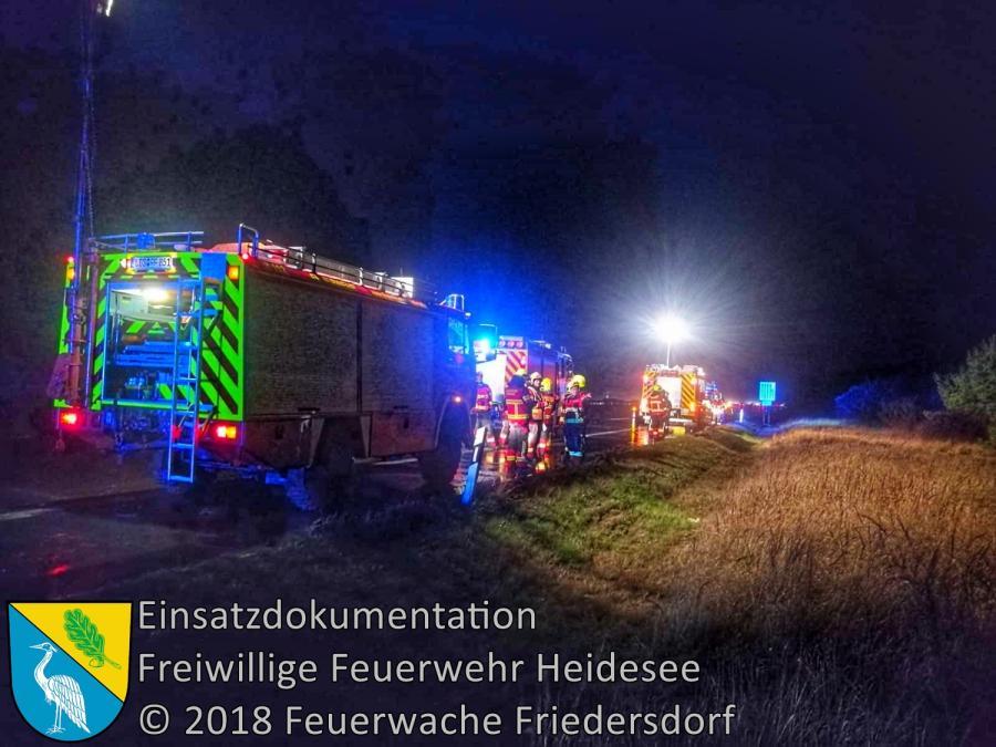 Einsatz 163/2018 | PKW von Fahrbahn abgekommen | BAB 10 AD Spreeau - AS Niederlehme | 23.12.2018