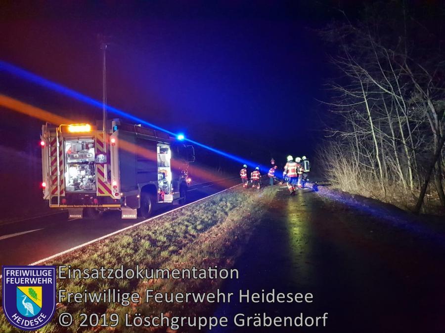 Einsatz 3/2019 | Baum auf Radweg | B 246 OV Gräbendorf - Bestensee | 01.01.2019