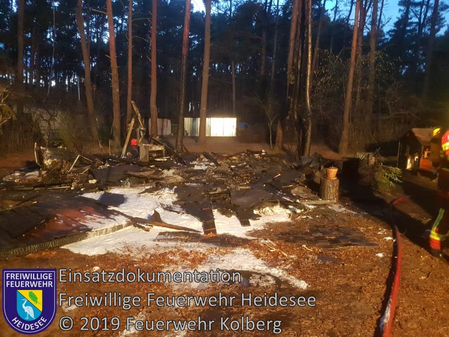 Einsatz 16/2019 | Bungalow in Vollbrand | Prieros Seekorso | 11.02.2019