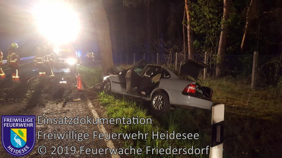 Einsatz 37/2019 | PKW gegen Baum | L39 OV Kolberg - Prieros | 21.04.2019