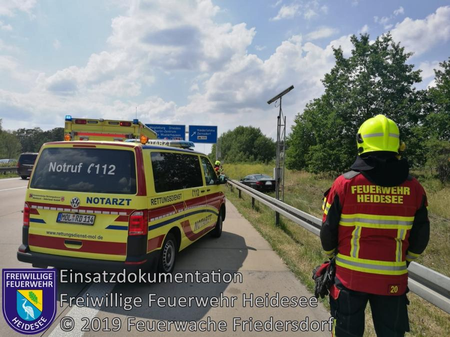 Einsatz 82/2019 | PKW in Graben | BAB 10 AD Spreeau - AS Niederlehme | 22.06.2019