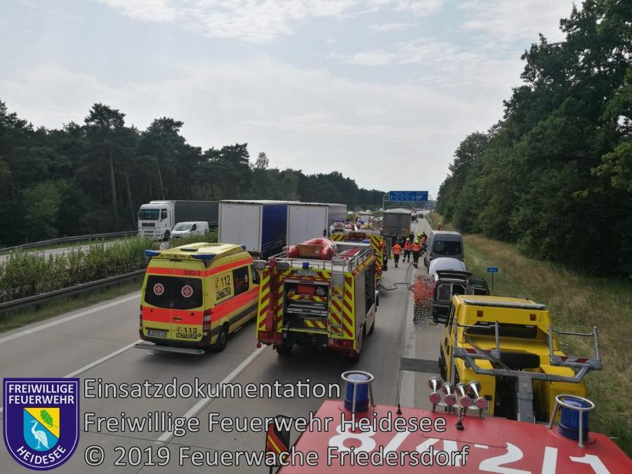 Einsatz 113/2019 | VU 2x LKW 1x PKW | BAB 10 AD Spreeau - AS Niederlehme | 29.07.2019