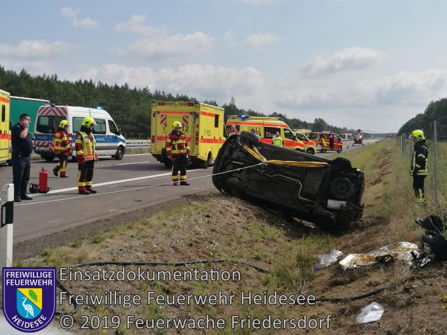 Einsatz 116/2019 | PKW überschlagen | BAB 12 AS Friedersdorf - AS Storkow | 31.07.2019