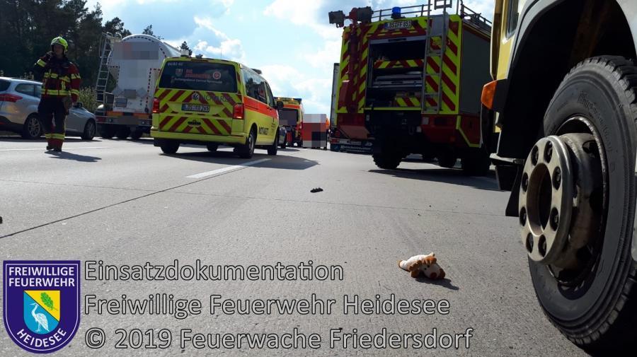 Einsatz 138/2019 | VU 2x LKW 1x PKW | BAB 10 AD Spreeau - AS Niederlehme | 10.09.2019