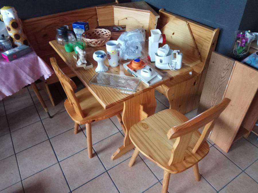 Eckbank mit Tisch und 2 Stühlen massiv Holz Kifer