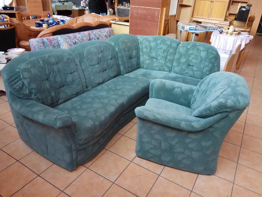 Eckcouch grün mit Sessel