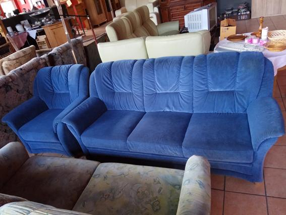 3-Sitzer mit Sessel blau